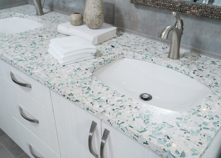coastal countertop and cabinetry for bathroom remodel in Pensacola Florida