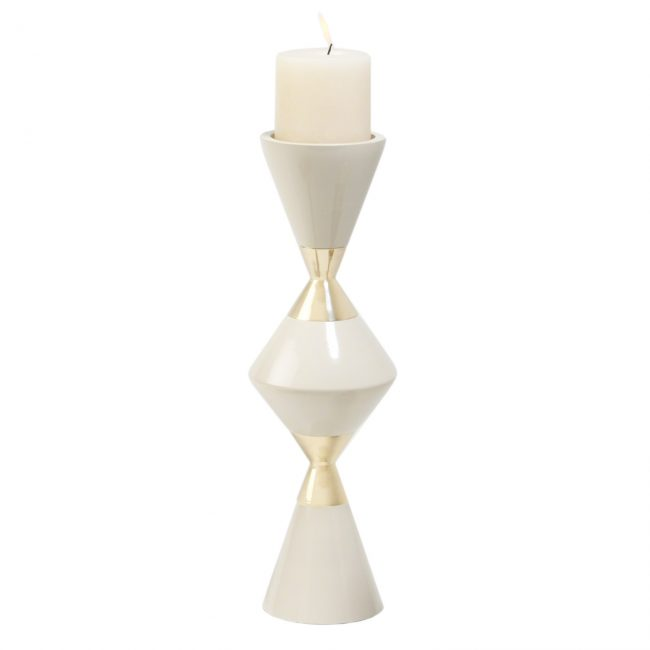 large-candlestick, cream and gold