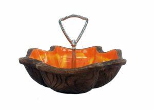 Vintage accent dish, california pottery, vintage-orange-glazed-ash-tray-2