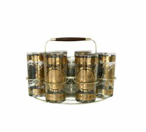 gold caddy vintage glass set
