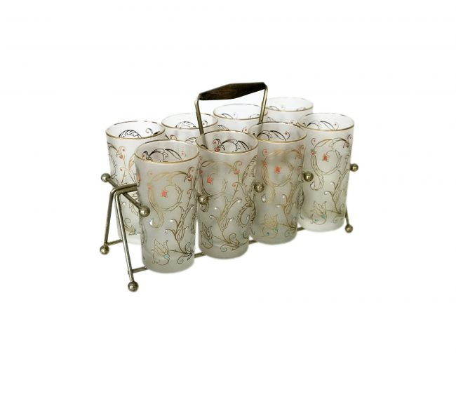 Libbey floral glasses with carrier