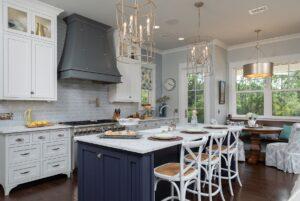 modern farmhouse classic kitchen in pensacola florida - white and blue