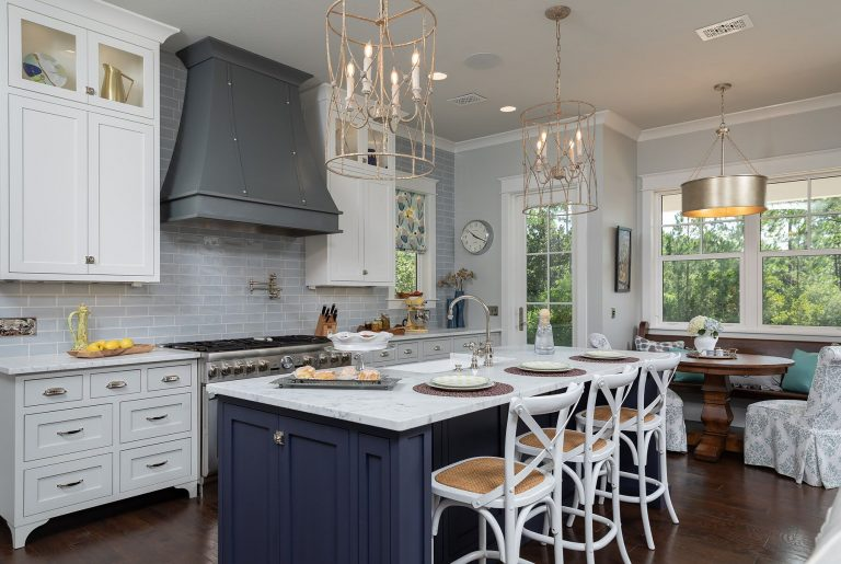 modern farmhouse classic kitchen in pensacola florida - white and blue
