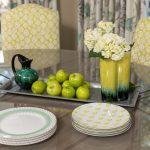 Dining Table with green home decor and green dining chairs