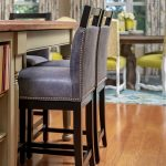 Blue Leather counter stool outside of dining area