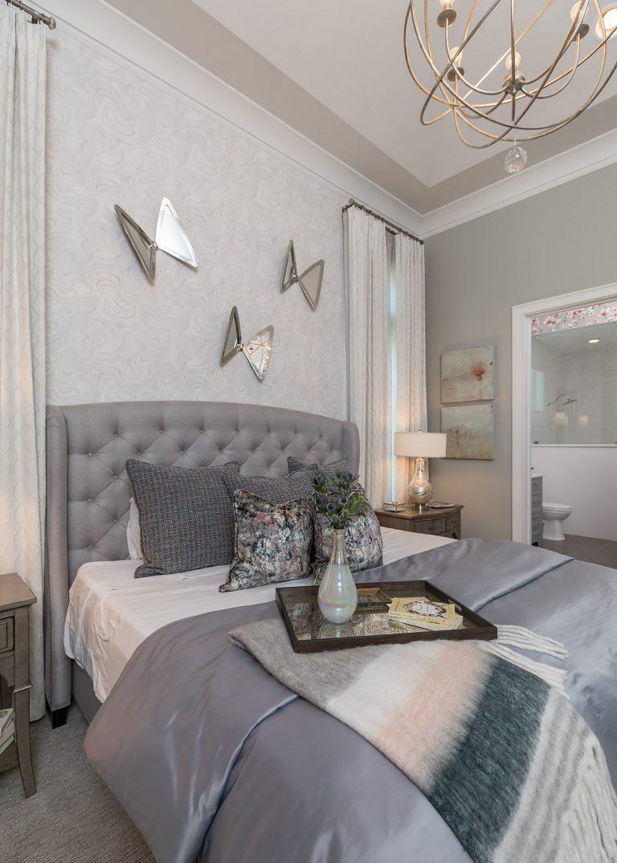 Grey wallpaper, butterfly art, girl's bedroom