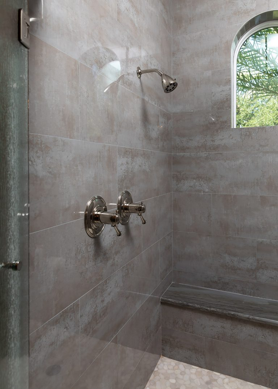 Grey Walk In Shower in Master Bath
