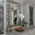 Grey wallpaper and mirror for Master Closet