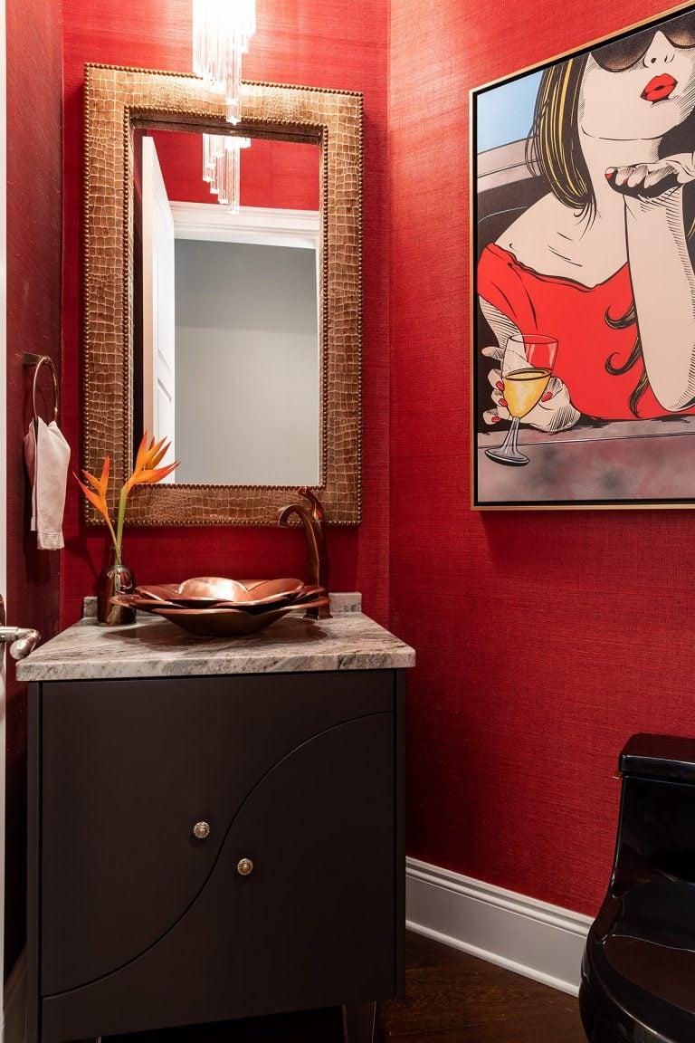 Red Small Powder Bath New Construction Benjamin Moore Cheating Heart Vanity