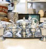 vintage silver hammered tea set