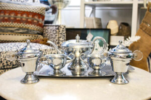 vintage silver hammered tea set