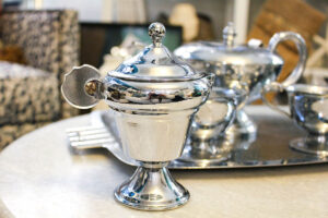 vintage silver hammered tea server