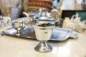 vintage silver hammered tea server