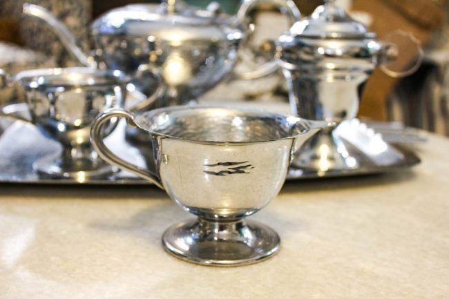 vintage silver hammered tea bowl