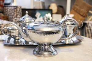 vintage silver hammered tea pot