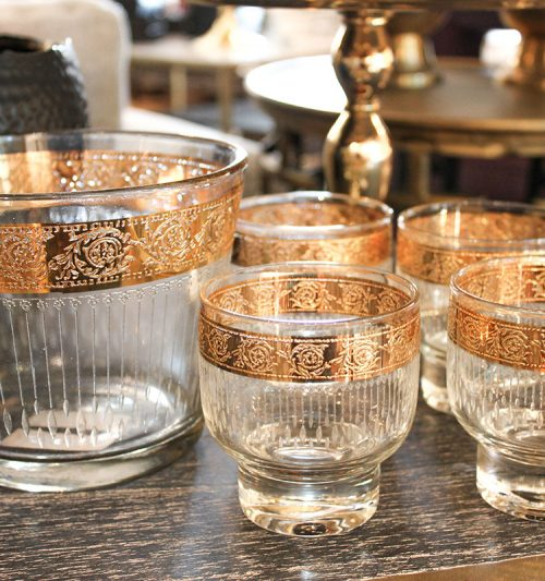 culver gold tyrol ice bucket and glasses set