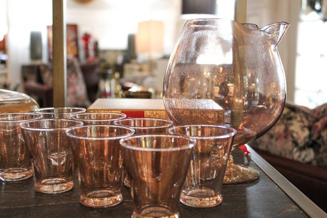 vintage gold flecked cocktail pitcher and glasses
