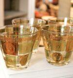 George Briard gold green lowball rocks glass