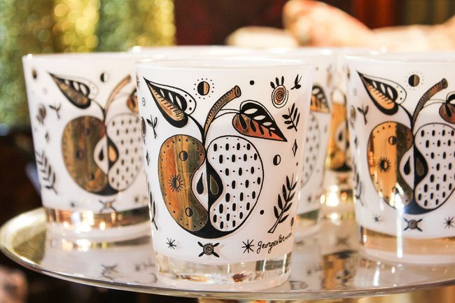 Georges Briard forbidden fruit old fashioned glasses, black white and gold