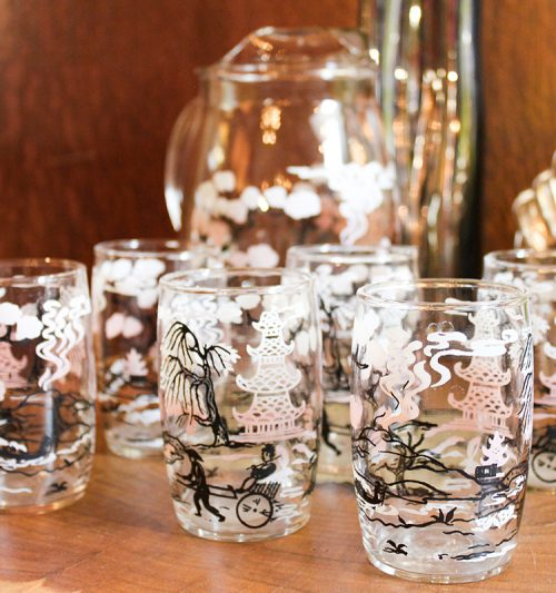 hand-painted vintage asian glassware