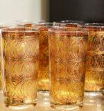 George Briard gold highball vintage glasses