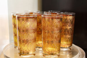 George Briard gold highball vintage glasses