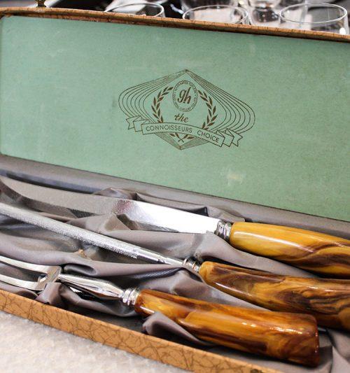 set of knives, vintage knives, gift set of knives, original box, vintage cutlery,