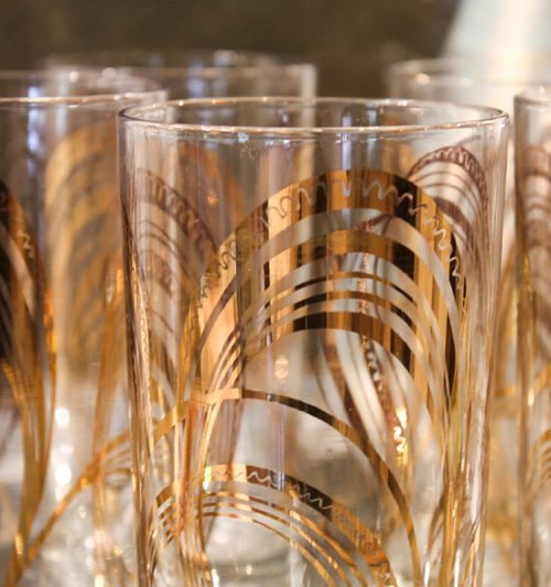 set of gold highball glasses, gold abstract glassware, set of vintage glasses