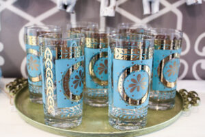 vintage blue flower glasses