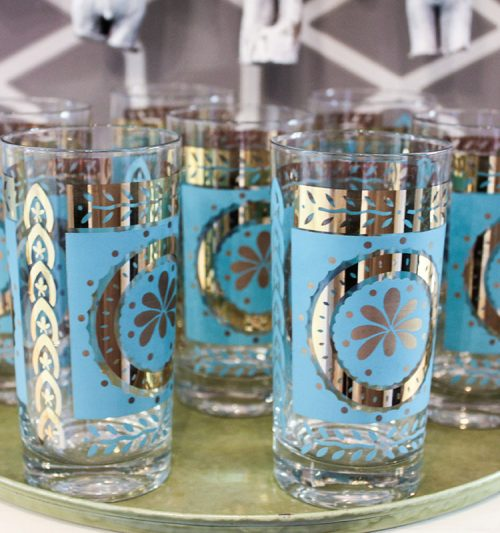 vintage blue flower glasses
