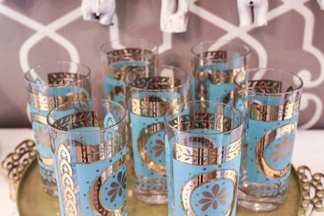 blue flower glasses set