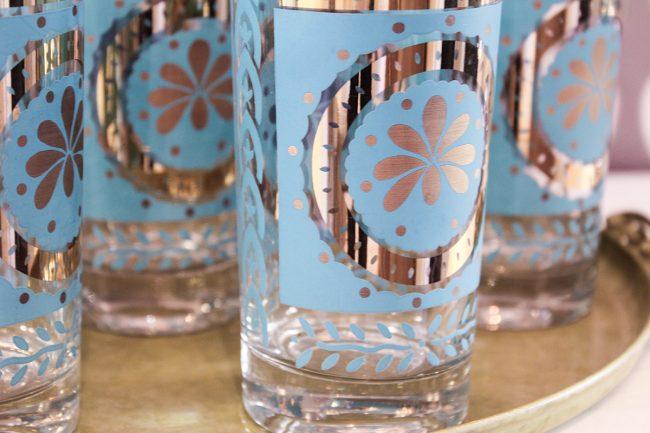 close-up vintage blue flower glass