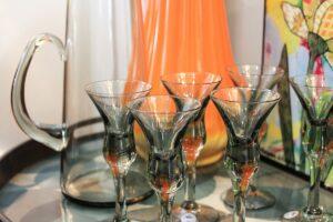 vintage Holmaar, Holdmard glasses, pitcher and glasses set, smokey gray glasses