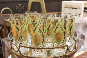 Green/gold vintage Pasinski ice bucket with set of 8 glasses