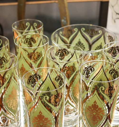 Green/gold vintage glassware