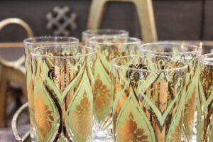 vintage pasinski glassware set, vintage green/gold glassware set, vintage pasinski set, vintage ice bucket and glasses, gold and green vintage