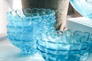 vintage hazel atlas, aqua blue glass, vintage serving set, serving bowls, glass bowls