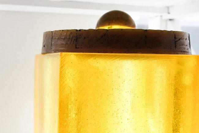 vintage ice bucket, yellow glass, ice bucket with lid, vintage yellow glass