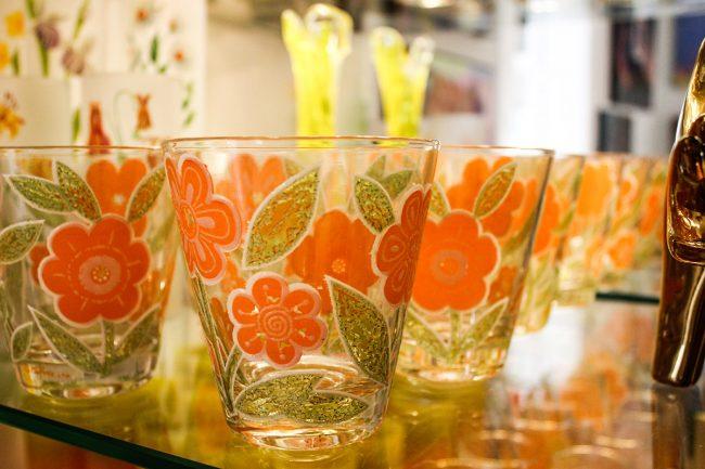 Culver orange flower glasses