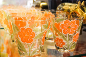 vintage culver glassware orange flowers low ball, vintage orange glassware, vintage orange flower glass, vintage lowball, culver glassware