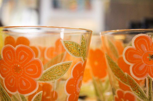 vintage orange flower glass