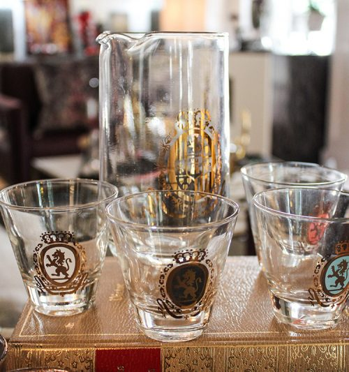 Federal pitcher with shot glasses