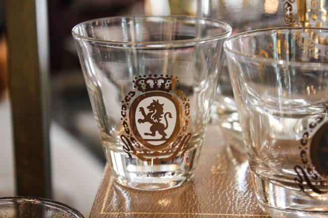 white Federal shot glass