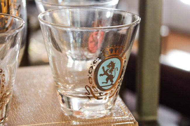 vintage Federal cocktail set, pitcher and shot glasses, vintage shot glasses