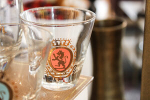 red Federal shot glass