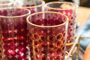 red/gold glasses, vintage glassware set, vintage highball, set of glasses, vintage red and gold