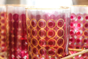 Red/gold circles glass