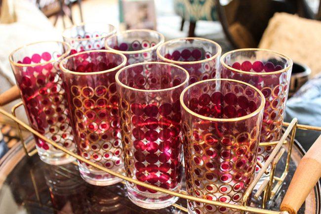 vintage red/gold glass set