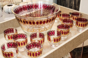 vintage Culver punch bowl set w/ glasses