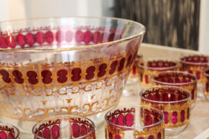 vintage culver punch set, red gold vintage glassware, glass punch bowl, set of glass tumblers, vintage culver glasses